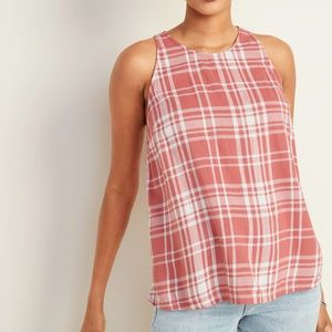 NWT Old Navy Plaid High-Neck Sleeveless Top Large